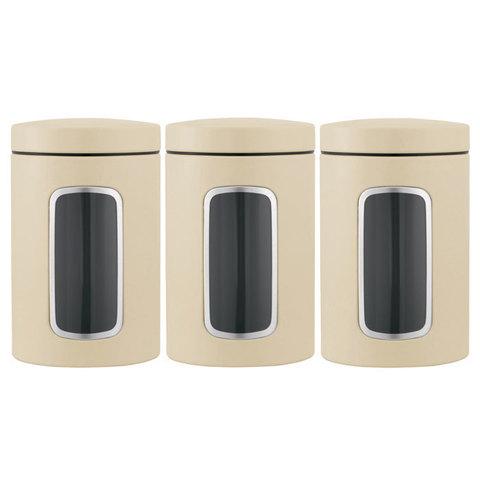 Набор контейнеров для сыпучих продуктов с окном (1,4 л), 3 шт., Миндальный, арт. 380341 - фото 1