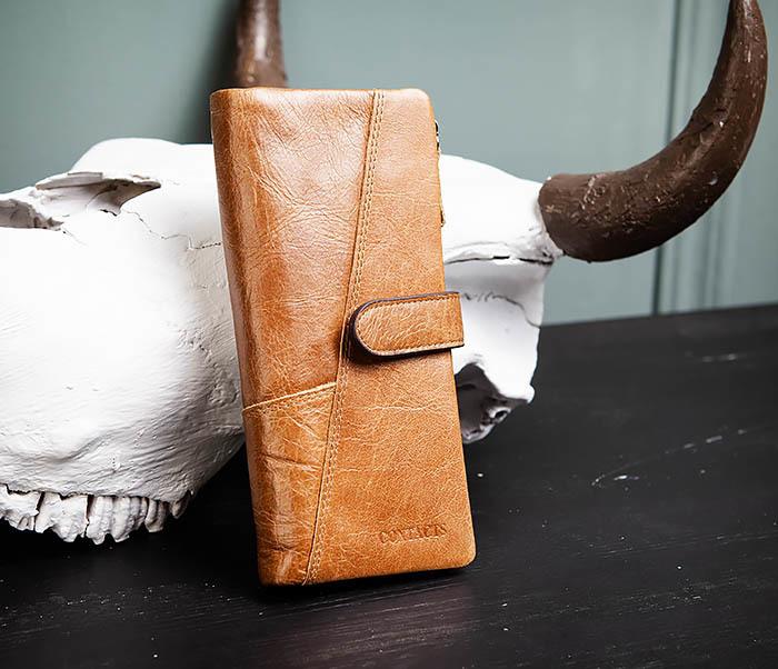 WL252-2 Мужской клатч из натуральной кожи со съемным отделением фото 02
