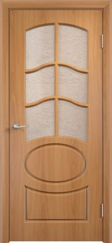 Дверь Сибирь Профиль Неаполь, цвет миланский орех, остекленная