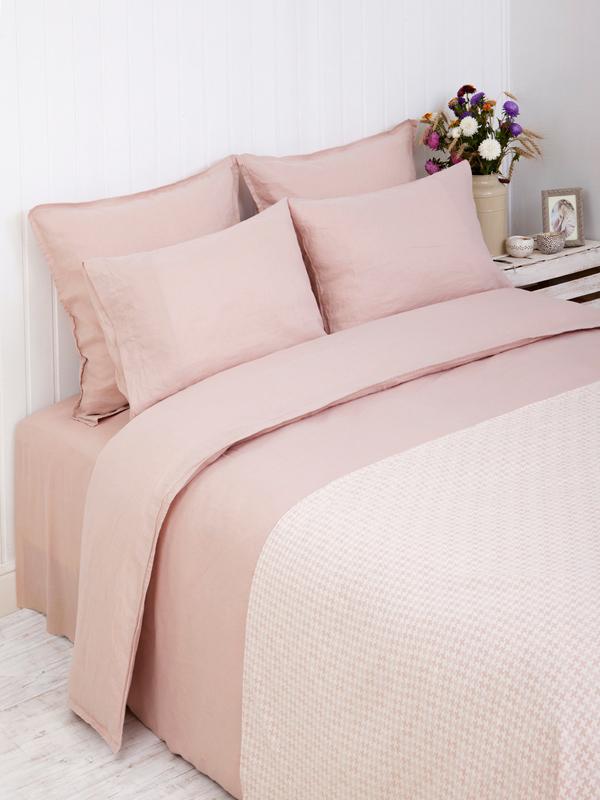 Простыня на резинке 180х200х30 Bovi (LB) Linen розовая