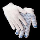 Перчатки трикотажные из смесовой пряжи 10 кл 3х нитка ПВХ Точка (укороч. манжет )