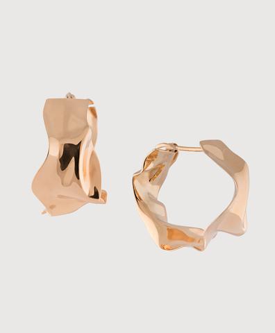 Серебряные серьги-кольца мятые с золотым покрытием