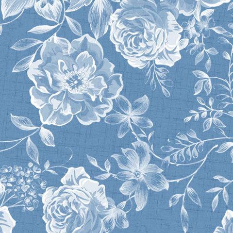 Этиклейка Цветы на синем фоне