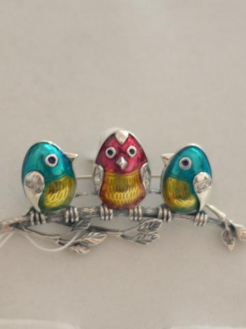 Птички (серебряная брошь)