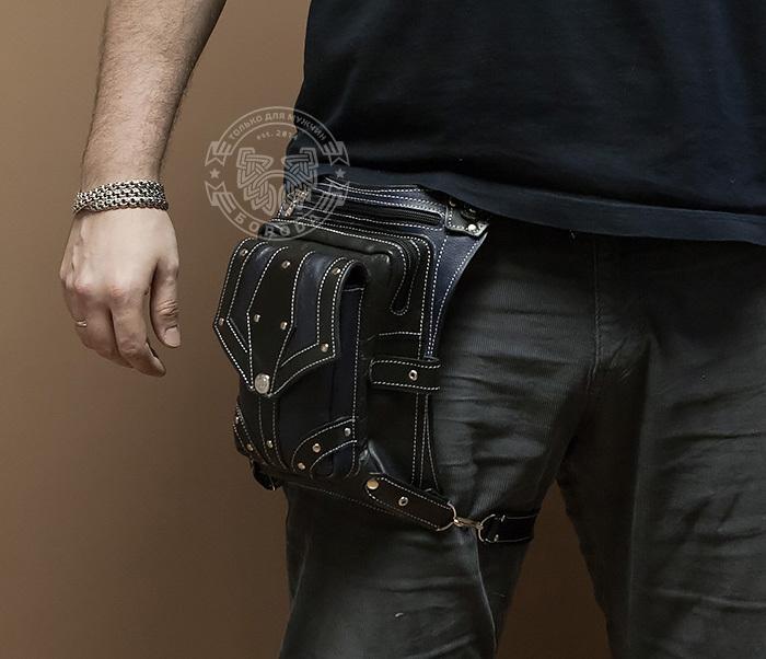 BAG373-3 Байкерская сумка на бедро из натуральной кожи, ручная работа фото 03