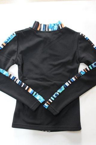 Термокомплект, рост 116 (черный, с цветочными вставками/полоска) + повязка