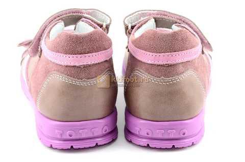 Босоножки Тотто из натуральной кожи с открытым носом для девочек, цвет ирис розовый. Изображение 7 из 12.