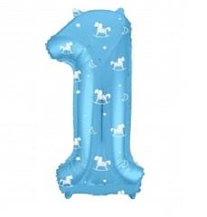 Р Цифра, 1, Slim, Лошадки, Голубой, в упаковке 40''/102 см, 1 шт.