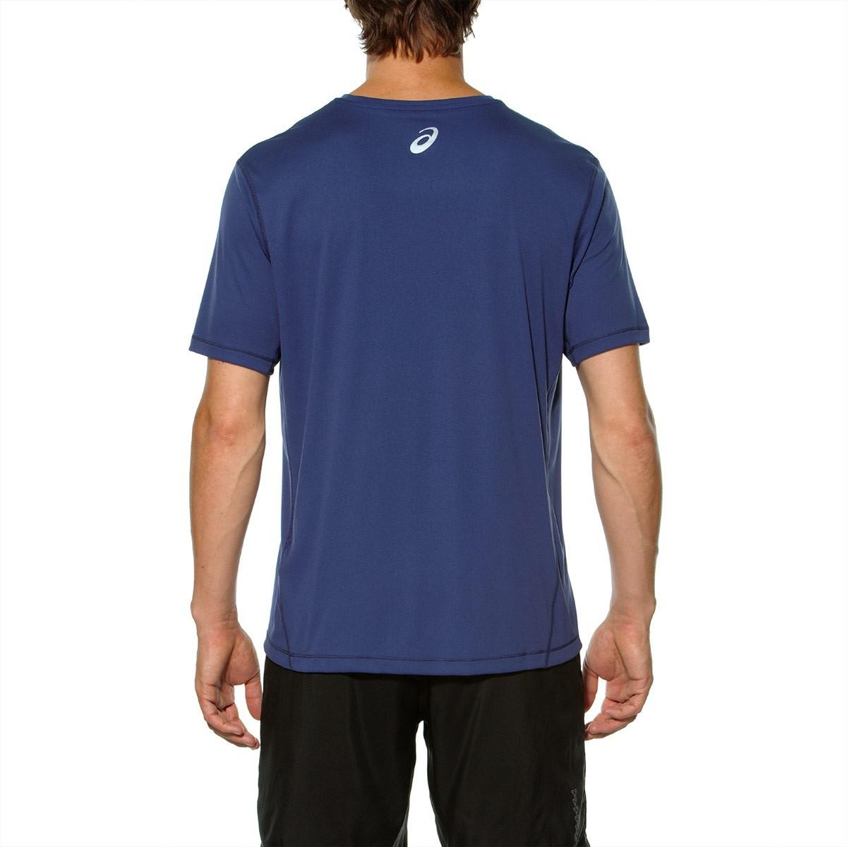 Мужская футболка с надписями Asics Short Sleeve Tee (125141 8133) синяя фото