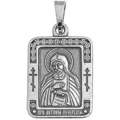 Святой Антоний. Нательная икона посеребренная.