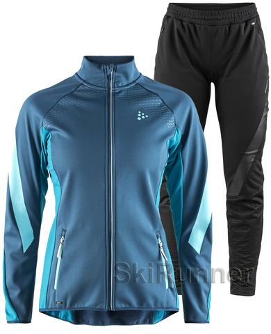 Элитный лыжный костюм Craft Sharp Softshell XC Blue женский