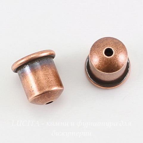 "Концевик для шнура 6 мм TierraCast ""Купол"" (цвет-античная медь) 9х9 мм ()"