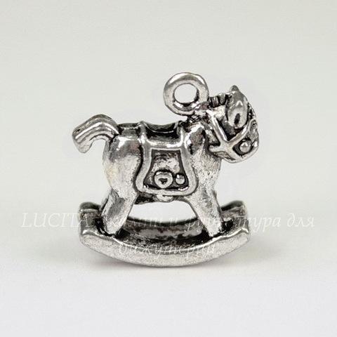 "Подвеска 3D ""Лошадка"" 18х16х6 мм (цвет - античное серебро)"