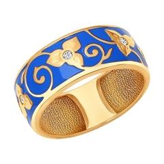 Серебряное кольцо с позолотой и эмалью