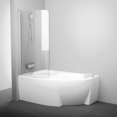 Шторка для ванны Ravak Rosa 140-150 L CVSK1 хром Transparent
