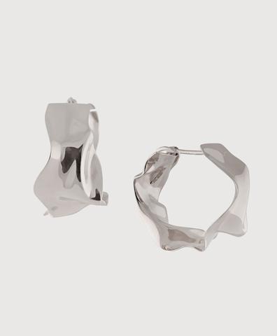 Серебряные серьги-кольца мятые