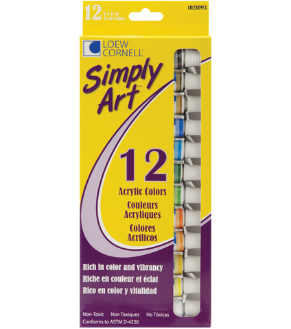 """Акриловая краска  12 цветов """"Simply Art"""""""