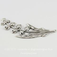 Винтажный декоративный элемент - штамп 68х26 мм (оксид серебра)