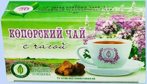 Травник Гордеев копорский чай с чагой, ф/п, 20 шт, кор.