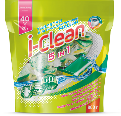 Фабрика Ромакс i-Clean Таблетки для посудомоечных машин 5 в 1 40шт. 800г