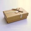 Подарочная коробочка с бантиком (цвет - бежевый в белый горошек), 80х50х25 мм