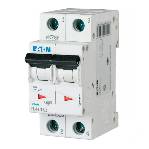 Автоматический выключатель Eaton PL4-C16/2P (293142 Moeller series)