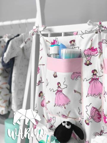 органайзер на дитяче ліжечко з рожевими балеринами фото