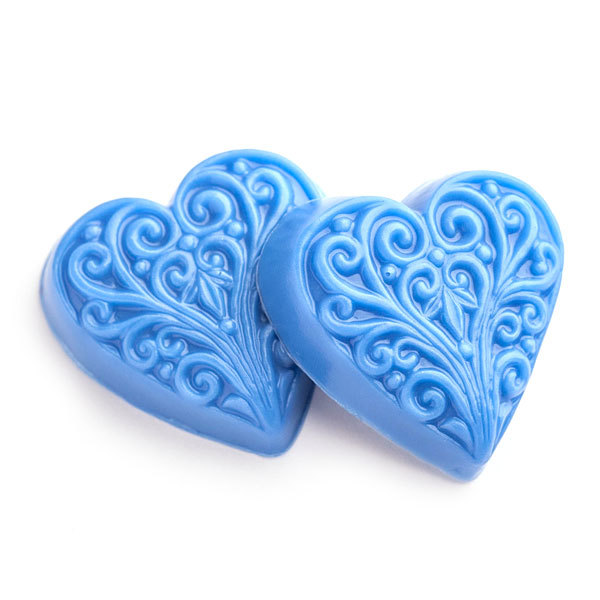 Пластиковая форма для мыла Сердце с орнаментом