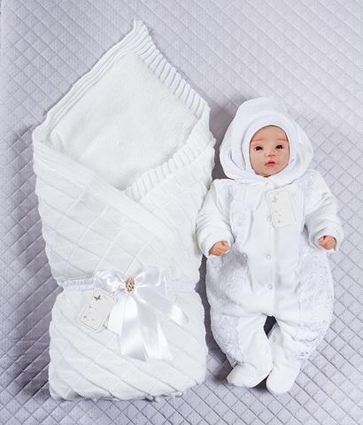Зимний комплект на выписку Вязка белый