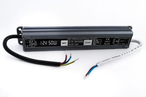 Блок питания 50Вт, 12В, IP67 для светодиодных лент и модулей