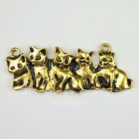 """Подвеска - коннектор """"Котята"""" 53х20 мм (цвет - античное золото)"""