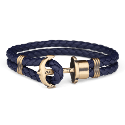 Leather Anchor Bracelet Blue