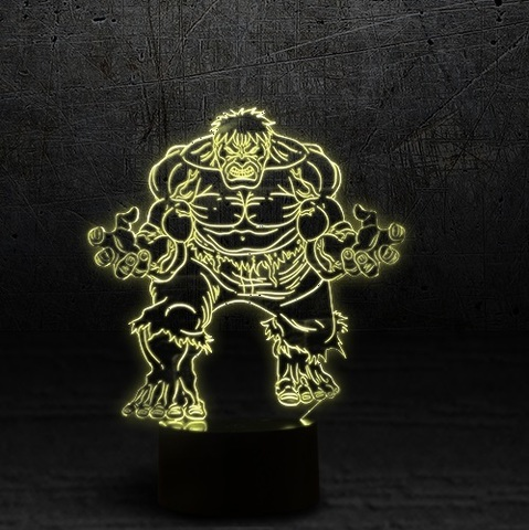 3D светильник Мстители Халк — 3D light Avengers Hulk