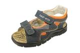 Детские сандалии Котофей 522053-22 из натуральной кожи, для мальчика, сине-оранжевые. Изображение 5 из 10.