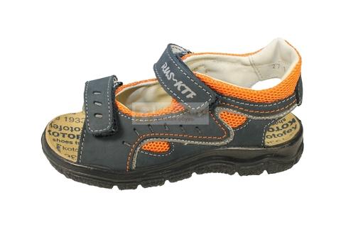 Детские сандалии Котофей 522053-22 из натуральной кожи, для мальчика, сине-оранжевые. Изображение 6 из 10.