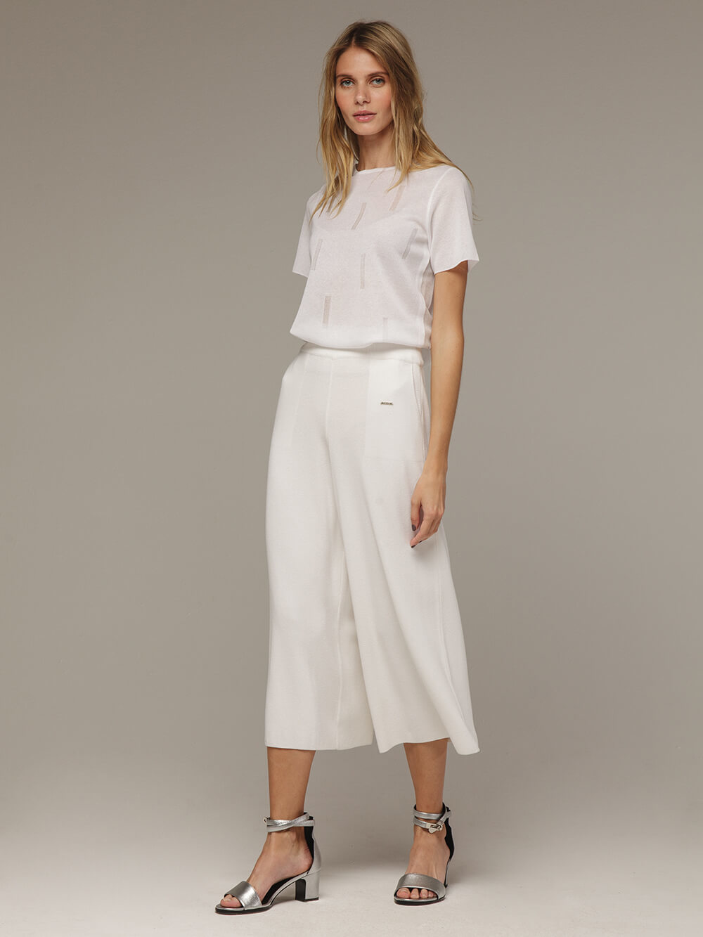 White female loose trousers made of viscose