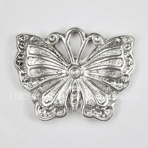 "Подвеска ""Бабочка"" (цвет - античное серебро) 26х20 мм"