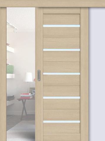 Дверь раздвижная La Stella 206, стекло матовое, цвет ясень латте, остекленная