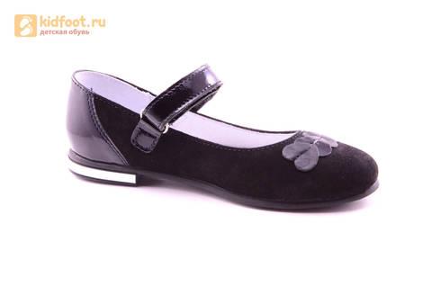 Туфли для девочек из натуральной кожи и велюра на липучке Лель (LEL), цвет черный. Изображение 2 из 17.