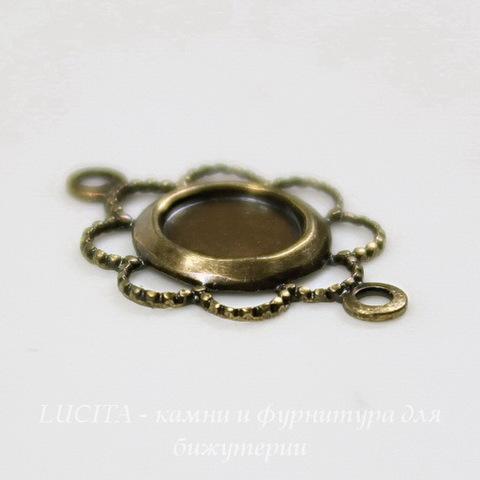 """Сеттинг - основа - коннектор """"Ажурный"""" (1-1) для камеи или кабошона 5 мм (оксид латуни) ()"""