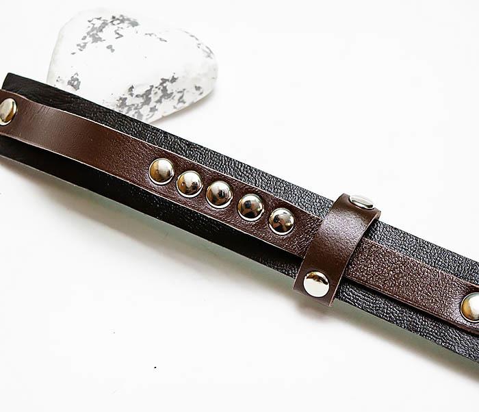 BL795-2 Браслет из черной и коричневой кожи с заклепками фото 03