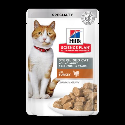 Hill's Science Plan Sterilised Cat Консервы для молодых стерилизованных кошек и кастрированных котов с индейкой в соусе (пауч)