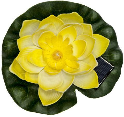 Светильник садово-парковый на воду на солнечной батарее «Кувшинка» желтый, 1 RGB LED, 170*170*60мм, PL263 (Feron)