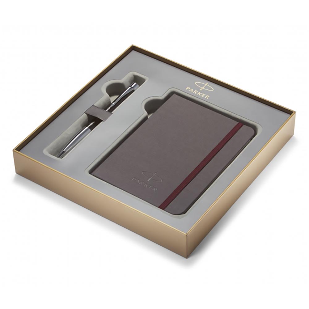 Набор подарочный Parker Urban Premium - Ebony Metal Chiselled, шариковая ручка, M + блокнот