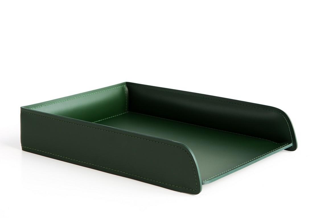 Лоток горизонтальный для бумаг А4 кожа Cuoietto (Италия)) цвет зеленый. Фото 1.