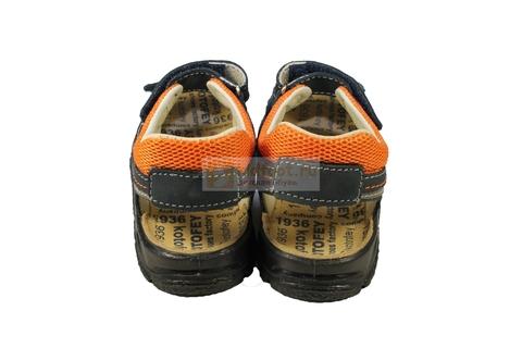 Детские сандалии Котофей 522053-22 из натуральной кожи, для мальчика, сине-оранжевые. Изображение 9 из 10.