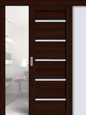 Дверь раздвижная La Stella 206, стекло матовое, цвет дуб мокко, остекленная