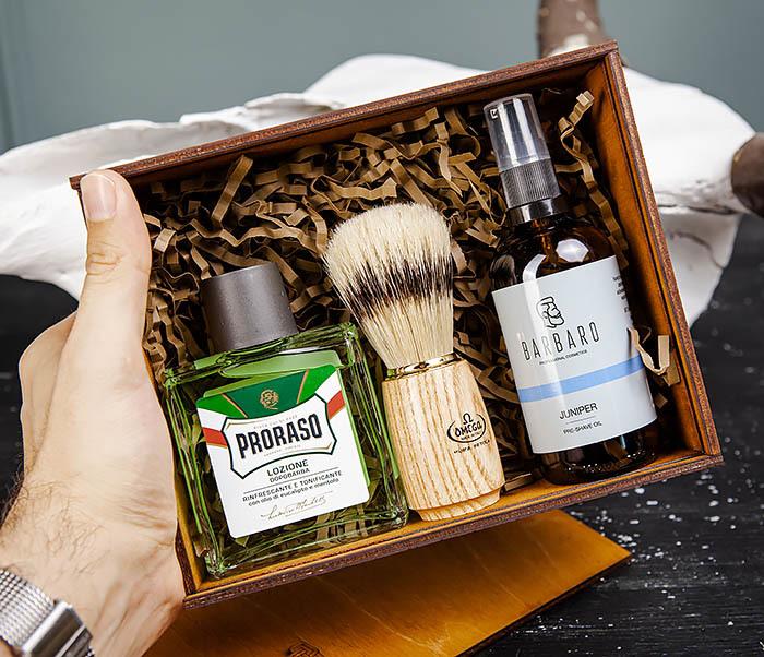 Подарочный набор для бритья: лосьон «PRORASO», масло для бритья и помазок фото 04