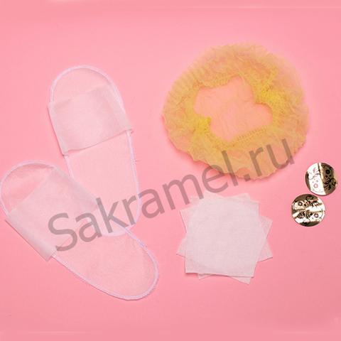 Комплект для солярия женский (стикини, тапочки спанбонд, салфетка 10х10 см 3 штуки, шапочка-шарлотка) (1 комплект, упаковка)