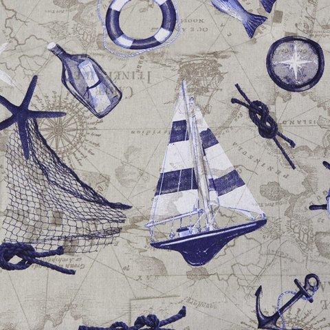 Портьерная хлопковая ткань в современном стиле Парус синий